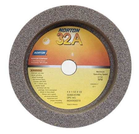 Straight Cup Wheel, 4 Diax1.5 Tx1/2AH, PK5 by Norton Abrasives - St. Gobain