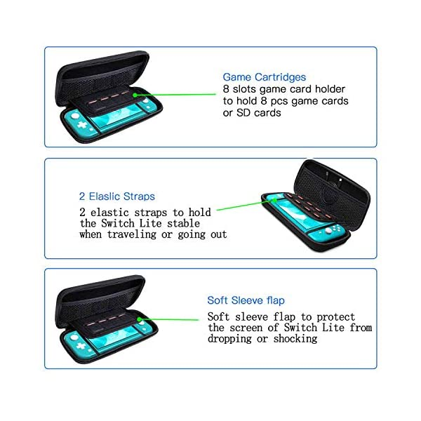 Accessories Kit for Nintendo Switch Lite - YOOWA Accessories Bundle with Carrying Case, Protective Cover case, 2-Pack Tempered Glass Screen Protector, Adjustable Play Stand, 6 Thumb Grips 6