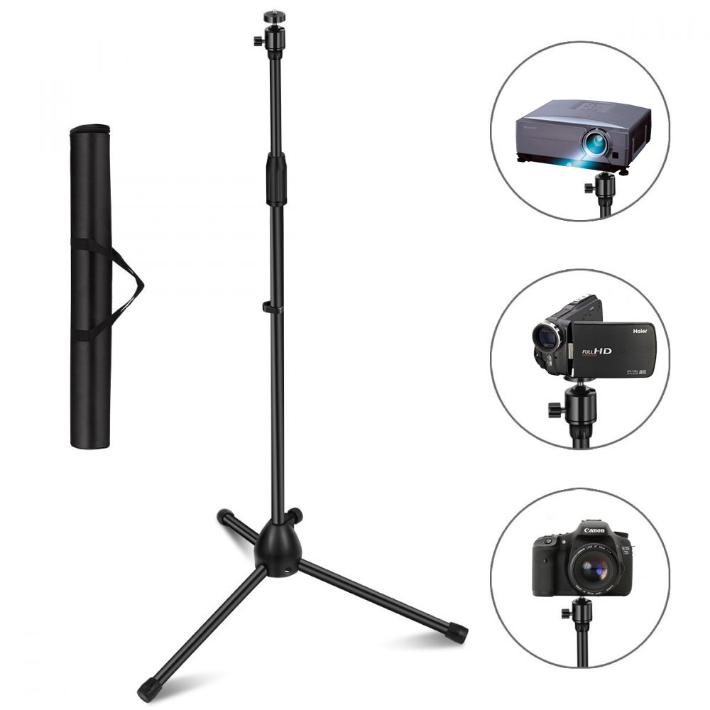 Projector Stand, Thustar Portable Tripod Stand Lightweight Adjustable Height 29.5'' to 55.1'' Floor Stand Holder 360°Swivel Ball Head for Projector, Small Camera, Webcam, GoPro with Carry Bag US