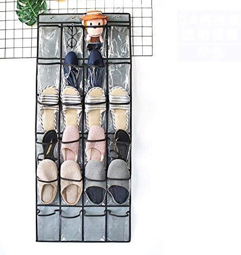 Manufactuer Schuhablage Hängende Tür 24 Gittertür Schuh-Aufhängetasche Hinten Vlies Schuh-Aufbewahrungstasche Mesh Stoff Wandbehang Wand Schuh-Tasche 24 Gitter Transparent Tasche Grau