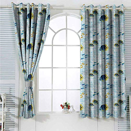 L'sWOW Curtains Aquarium,Tropical Fishes Sea Life Curtain 2 Panel Combination Set  W72 x L45 inches