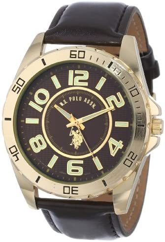 U.S. Polo Assn. Classic Men s USC50012 Analogue Brown Dial Leather Strap Watch
