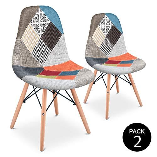 Mc Haus Pack 2 Sillas Comedor Vintage Diseño Tapizado Estilo Patchwork,  Naranja, 42 x 47 x 83 cm