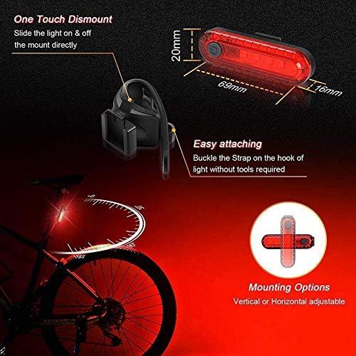 Lopbinte Set di Luci per Bicicletta Ricaricabile USB 4 modalit/à di Illuminazione Adatto per Uomo Potenti Fari per Bicicletta e Fanali Posteriori Donna Bambino Facile da Installare
