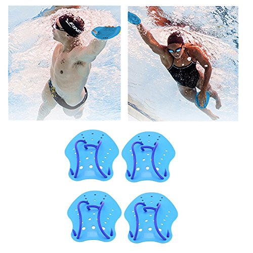 2Pair Hand Paddles Swimming Training Paddles Aquatic Gloves with Adjustable Strap Diving Hand Fin Webbed Flippers Paddle Aquatic Fitness Equipment for Adults and Kids Snorkeling, Surfing (L)