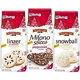 Pepperidge Farm Christmas Holiday Bundle of 3, Milano Slices Peppermint Cookies, 5oz Bag, Snowball Citrus Cookies, 5.5oz Bag, Linzer Raspberry Cookies, 6oz Bag