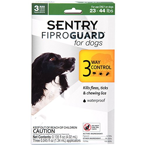 (SENTRY Fiproguard for Dogs, Flea and Tick Prevention for Dogs (23-44 Pounds), Includes 3 Month Supply of Topical Flea Treatments)
