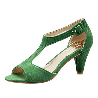 6d365c24cbe BEAUTYVAN Ladies Pumps High Heels Pointed Tip Peep Toe Ankle Strap Sandals  Fancy Dress Shoes Green