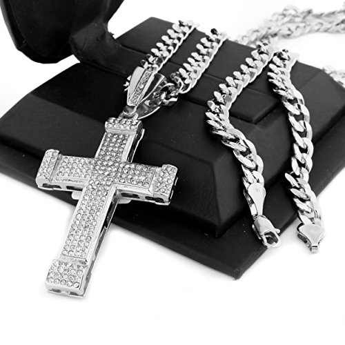 14k Diamond Cut Crucifix - Raonhazae Hip Hop Iced Out Art Deco Jesus Cross Pendant W/ 10mm 24