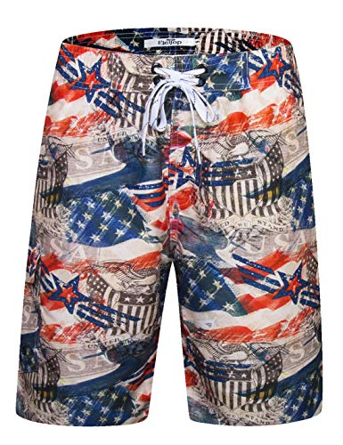 Men's Swim Trunks Quick Dry Board Shorts Beach Holiday Swimwear Print Bathing Suits American Flag Red EHS022-S