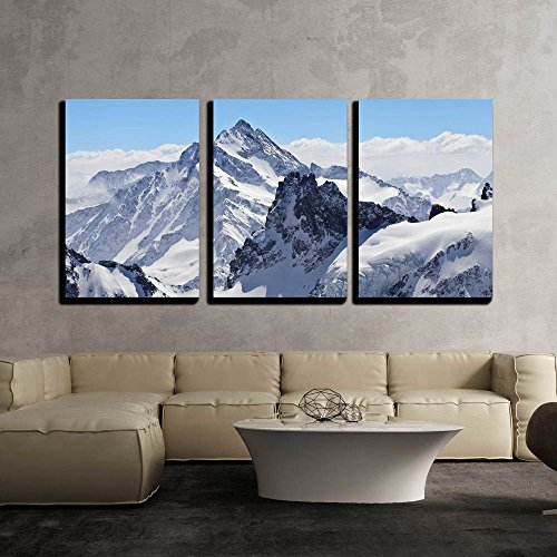 "Wall26 - 3 Piece Canvas Wall Art - Winter Landscape in the Matterhorn - Modern Home Decor Stretched and Framed Ready to Hang - 16""x24\""x3 Panels"