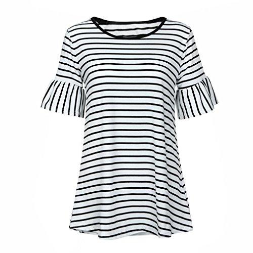 ... Frauen Gestreift Oberteile, ZIYOU Damen Rundhals T-shirts Tops    Beiläufig Sommer Kleidung Lange 6f6e012e6e