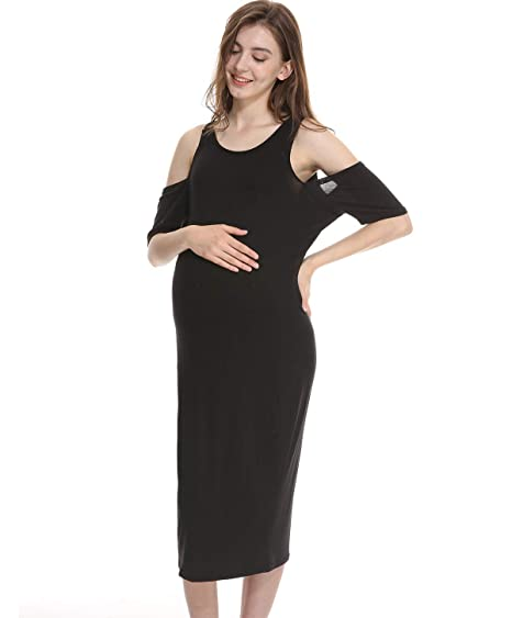 bab2a54b428a Long Bodycon Maternity Dresses for Women - Black Women's Floral Maxi Casual  Clothes, Baby Shower