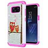 S8 Case, SGM Shock Resistant Studded Rhinestone Crystal Bling Hybrid Armor Case Cover for Samsung Galaxy S8 (NOT FOR S8 PLUS) (Owl (Pink))