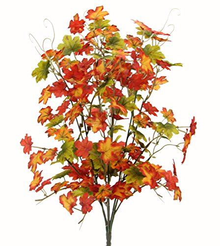Admired By Nature GPB7445-OR/GN 6 Stems Artificial Maple Leaves Bush for Gift, Orange/Green