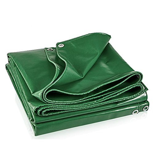 LIANGLIANG Tarpaulin Waterproof Heavy Duty Sheet Outdoor Rainproof Tear Resistance Metal Buttonhole Plastic PVC, 5 Colors, 8 Sizes (Color : Green, Size : 2.9x1.9m) by LIANGLIANG-pengbu