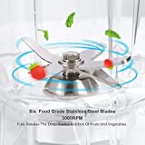 Blender Funkoo High Speed Commercial Blender Professional Multifunctional Food Mixer Smoothie Blender for Shakes and Smoothies ( 2 Litre / 1200W , 6 Stainless Steel Knives ), White