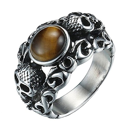 Men's Stainless Steel Skull Tiger's Eye Gem Stone Gothic Biker Ring Band Size (Deaths Head Ring)