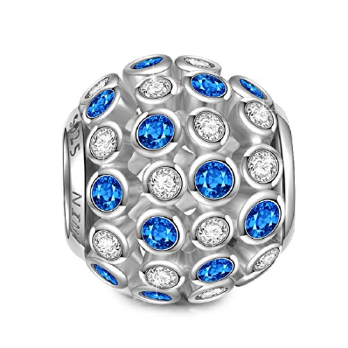 NINAQUEEN Stars 925 Sterling Silver Blue Bead Charms Fit for Bracelet Necklace Jewelry Christmas Birthday for Women Her Teen Girls Wife Mom Daughter Niece Sisters Friends (String Pandora Bracelet)