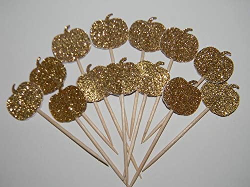Set of 24 Gold glitter Halloween pumpkin fall baby shower cupcake toppers party picks -