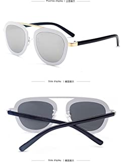 Lunettes de soleil CHTIT Miroir Homme Femme Ronde Style de yeux de chat Diamant # TSGL308 (or-gris) 9EP0h5z
