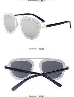 Lunettes de soleil CHTIT Miroir Homme Femme Ronde Style de yeux de chat Diamant # TSGL252 (argenté-argenté)