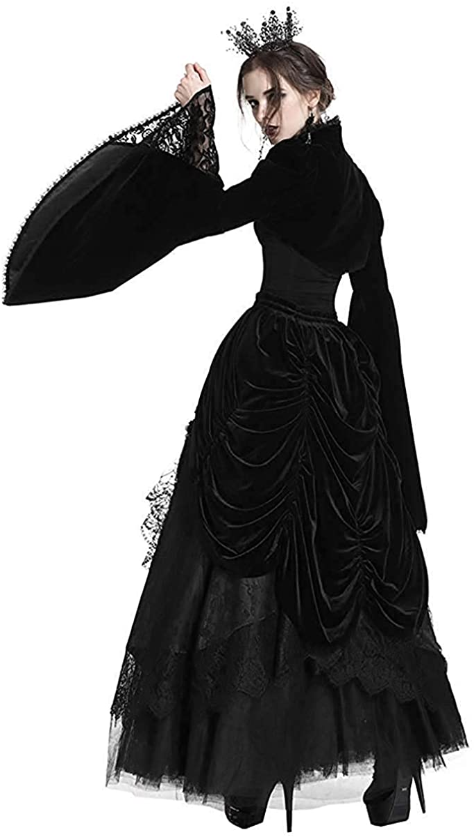 Dark In Love Gothique Haut Bol/éro Velours Noir Lacets Steampunk Vintage Style Victorien