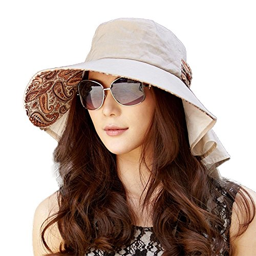 Siggi Womens Wide Brim Summer Sun Flap Cap Hat Neck Cover Cord Cotton UPF 50+ Coffee