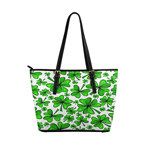 InterestPrint Women Totes Top Handle HandBags PU Leather Purse Four Leaf Clover and Green Shamrock ()