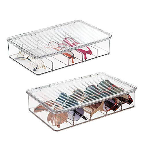 mDesign Plastic Rectangular Stackable Eye Glass Storage Organizer Holder Box for Sunglasses, Reading Glasses, Fashion Eye Wear, Accessories - 5 Sections, Hinged Lid - 2 Pack - Clear