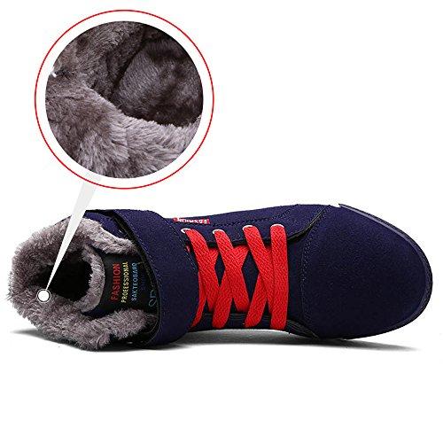 Shoes Fur JACKSHIBO Sneakers Men's Lining Winter Warm Outdoor Blue 0xBv1xOw