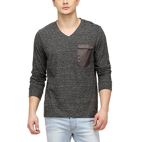 Campus Sutra Men Full Sleeve V- Neck T-Shirt With Pocket