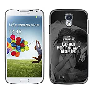 Plastic Shell Protective Case Cover || Samsung Galaxy S4 I9500 || Love Word Heartbreak Couple @XPTECH