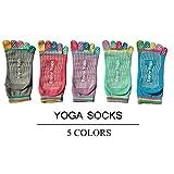Non Slip Skid Yoga Pilates Socks with Grips Cotton for Women Pack of 5