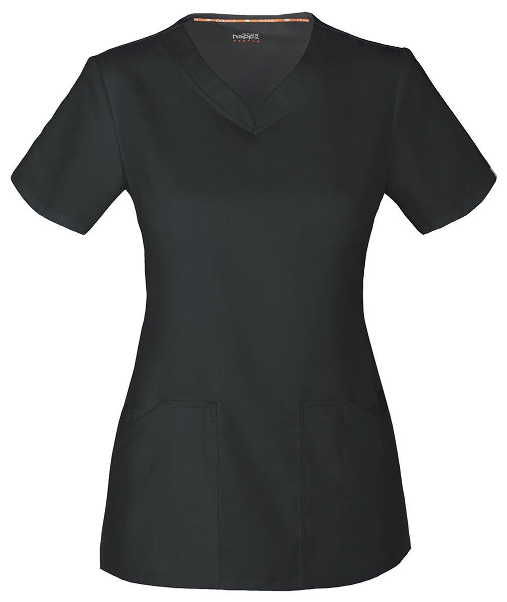 Code Happy Women's Cloud Nine V-Neck Top, Black, 4X-Large