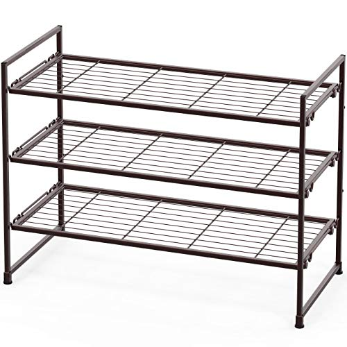 Simple Houseware Stackable Wire Grid Shoes Rack, Bronze