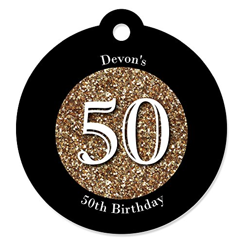 Big Dot of Happiness Custom Adult 50th Birthday - Gold - Personalized Birthday Party Favor Gift Tags (Set of (Personalized Party Favors For Adults)