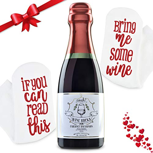 Luxury Wine Socks with Wine Tin Gift Packaging: Valentines Day Gift If You Can Read This Bring Me Some Wine Socks - Funny Accessory for Her, Novelty Present for Wife, Mom, and Women Under 25 Dollars