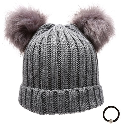 Women's Winter Chunky Knit Double Pom Pom Beanie Hat With ()