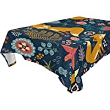 WOZO Rectangular Forest Animal Fox Owl Bird Floral Print Tablecloth Table Cloth Cover for Home Decor Dinner Kitchen Party Picnic Wedding Halloween Christmas 60x120 inch
