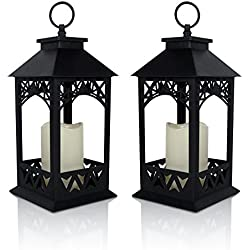 "BANBERRY DESIGNS Decorative Lanterns - Set of 2 Black Lantern with LED Pillar Candle and a 5 Hour Timer - Candle Lanterns Outdoor - 13"" H"