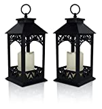 Decorative Lanterns – Set of 2 Black Lantern with LED Pillar Candle and a 5 Hour Timer – Candle Lanterns Outdoor – 13″H For Sale