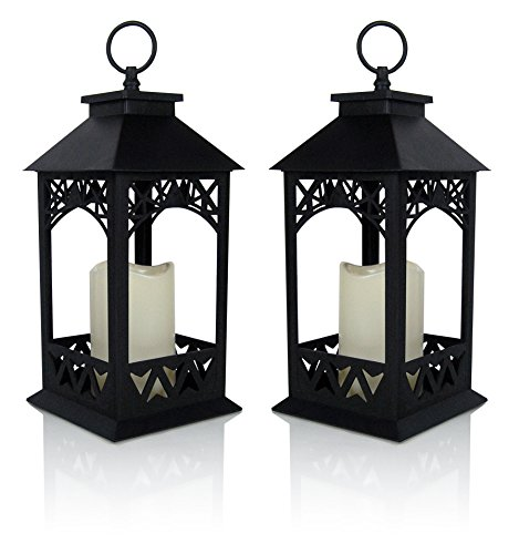 BANBERRY DESIGNS Decorative Lanterns - Set of 2 Black Lantern with LED Pillar Candle and a 5 Hour Timer - Candle Lanterns Outdoor - 13