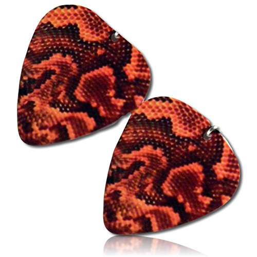 Unique & Custom [Thin Gauge - Traditional Style Semi Tip] Hard Luxury Guitar Pick Made of Genuine Solid Resin w/ Animal print Snake Skin