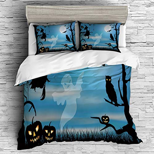 SCOCICI King Size Duvet Cover Set/Halloween,Ghost Witch Owl Spider Web Bats Trees Fantastic Grange Forest at Night Decorative,Blue Black White / 3 Piece Bedding Set -