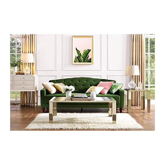 Elegant 3 Easy-to-convert Positions Vintage Tufted Sofa Sleeper II, Green Velour -  - sofas-couches, living-room-furniture, living-room - 511I5xGg 2L. SS570  -