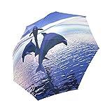 Best Designed Funny Lovely Jump Dolphins Folding Portable Outdoor Rain /Sun Umbrella Beach Travel Shade Sunscreen Anti-UV For Women/Men