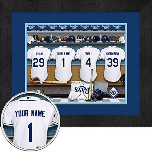 Tampa Bay Rays Team Locker Room Personalized Jersey Officially Licensed MLB Sports Photo 11 x 14 Print (Tampa Bay Rays Pictures)