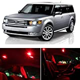 LEDpartsNow Ford Flex 2009 & Up RED Premium LED Interior Lights Package Kit (8 Pieces)