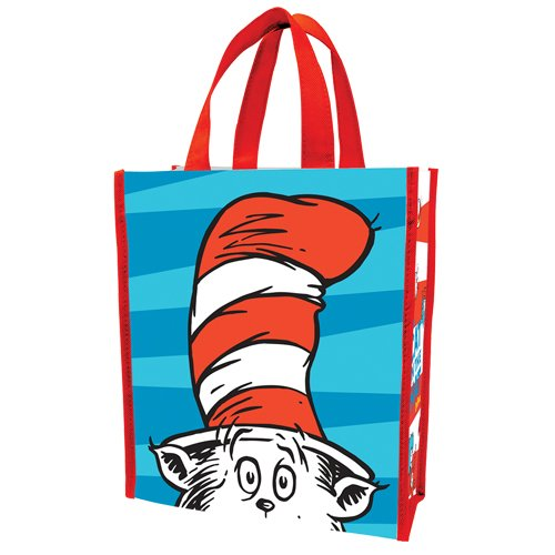 Vandor 17273 Dr. Seuss Cat in the Hat Small Recycled Shopper Tote, Red, Blue, and White